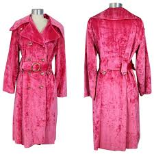vintage 1970s hot pink crushed velvet trench coat s