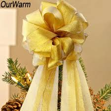 details about diy tree topper bow xmas tree ribbon bowknot gifts ornaments decor