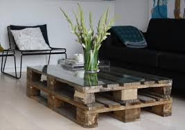 Pallet Glass Top Coffee Table: