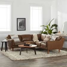 Image Black Strick Bolton Beatnik Leather Sectional In Oxford Tan Overstockcom Buy Leather Sectional Sofas Online At Overstockcom Our Best