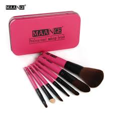 7pcs newest pink makeup brush set mini size professional cosmetics make up brushes set for mac with metal box make up brush kit in makeup scissors from