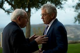 u s department of defense photo essay  defense secretary chuck hagel talks u s sen carl levin of michigan at the ronald
