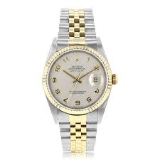 rolex datejust watches pre owned the watch gallery® pre owned rolex datejust automatic steel gold cream dial mens watch 16233