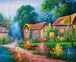 land sea nature oil painting 591 landscape cabins yard flowe