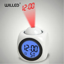 Digital Time Clock For Lighting Us 9 27 42 Off Alarm Clock Night Light With Projector Lamp Voice Temperature Digital Time Projection On Wall Ceiling For Home Table Decoration In