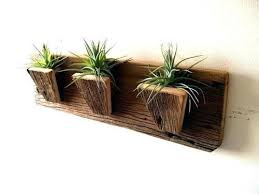 brown wall mounted wooden plant pot