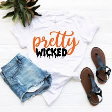 Wicked Clothes Size Chart Pretty Wicked Tshirt Funny Halloween Shirts Outfit Cute Tee For Mom Women Man Fall Ghost Gift Idea