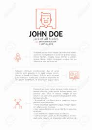 Jack Of All Trades Resume Simple CV Resume Template With Outline Icons Royalty Free Cliparts 22