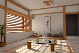 Japan Home Style Design with Open Top Glass Low Table and Indoor Paint feat  Grey Color