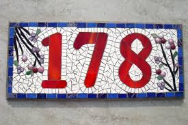 custom mosaic house number sign plaque