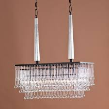 image of rectangular chandelier with linen shade