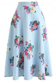 Brilliant Bouquets Stripe A Line Midi Skirt