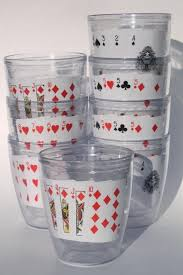 tervis type insulated clear plastic tumblers playing cards drinking glasses