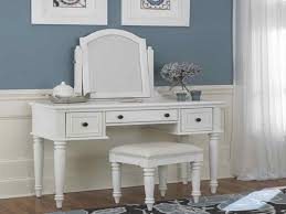 makeup vanity table set bench blue wall white