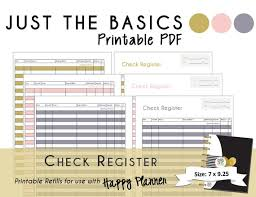 Check Register In Pdf Amazing Happy Planner PRINTABLE Check Register Planner Inserts PDF Etsy