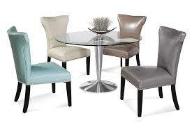 full size of chair round clear glass glossy dining table top design idea color faux leather