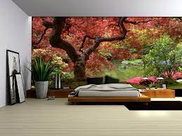 red tree wallpaper murals by