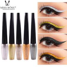 miss rose eye makeup liquid eyeliner shimmer cosmetics gold silver glitter eyeliner diamond pigment waterproof maquillage yeux cosmetic eye shadow from