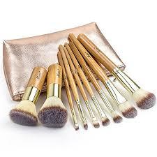 matto 9 piece bamboo makeup brush set with travel bag