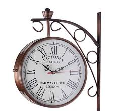 victoria two sided railway wall clock iron 6 inch