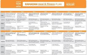 day ramadan meal and fitness plan
