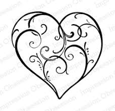 Scroll Heart Impression Obsession Cling Stamp By Alesa Baker Elegant Scroll Heart