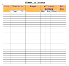 Printable Mileage Chart Excel Mileage Calculator Vehicle Log Printable Template Car
