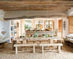 Stone cave house kitchen and dining