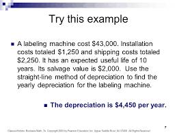 Straight Line Depreciation Equation Depreciation Example Problems
