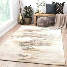 handmade abstract cream gold area rug and blue