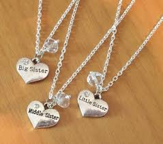 set of 3 sisters necklaces swarovski