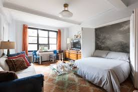 the murphy bed in daniel lubrano s gramercy park apartment which folds down from a closet enveloped in fabulous mural from anthropologie is one of his
