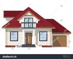 Balcony Over Garage Design Facade Brick House Balcony Garage Twostory Stock Vector