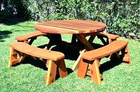 round wood picnic table