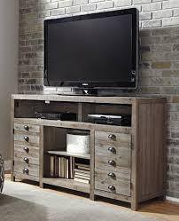 Ashley Furniture Keeblen TV Stand with Fireplace Option in Grayish