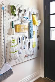 cleaning supplies on pegboards