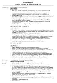Financial Control Resume Samples Velvet Jobs