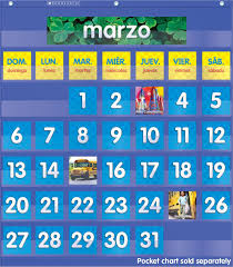 Classroom Calendar Pocket Chart Amazon Com Scholastic Teachers Friend Spanish Monthly