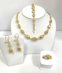 21k gold ball necklace set
