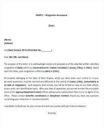 Resignation Acceptance Letter Sample Employee Resignation Acceptance