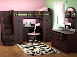 modern convertible furniture beds with brown wooden bunk bed and drawer under stairs along laptop desk and swivel chair plus brown wooden dressing table and
