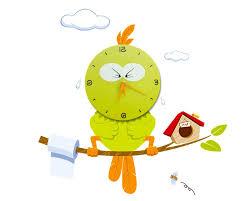 Amazon.com : WallElf Kid's Room Hurry Bird Style Wall Decal Clock, Green :  Baby