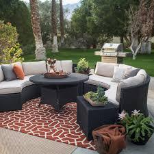 Belham Living Meridian Round Outdoor Wicker Patio Furniture Set with  Sunbrella Cushions   Hayneedle