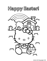 Hello Kitty Happy Easter Coloring Pages Printable