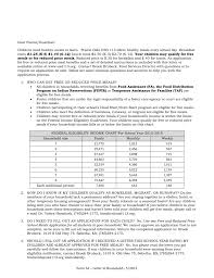 Reduced School Lunch Federal Income Chart Information On Free And Reduced Meals