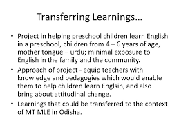 project in helping pre children learn english in a pre children from 4 6 years of age mother tongue urdu minimal exposure to english in