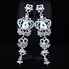 long chandelier earrings long cubic zirconia red pageant ab crystal earrings