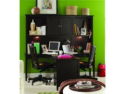 black polished oak wood t shape office desk with hutch and lights also square tapered legs black shaped office desks
