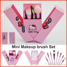 newest pink o kitty makeup brushes set professional cosmetics mini make up brushes kit kids makeup brushes with mirror box free dhl professional makeup