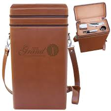 vineyard two bottle leather wine tote